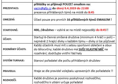 13.04.2019 - 24.VELIKONOČNÍ VOLEJBAL GFP - PROPOZICE